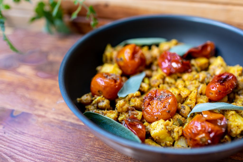 Celery with chickpeas and slow roasted tomatoes