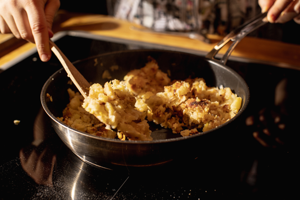 fried mashed potatoes on a pan