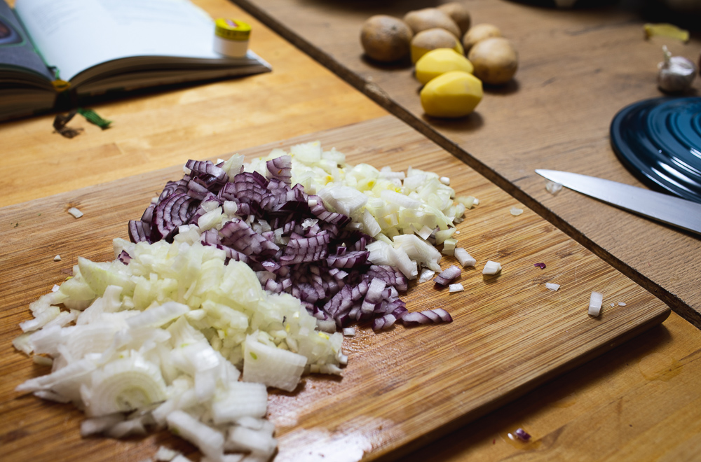 diced onions on the cutting board