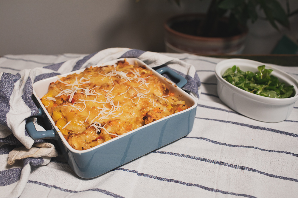vegetable bake in a baking form on the table