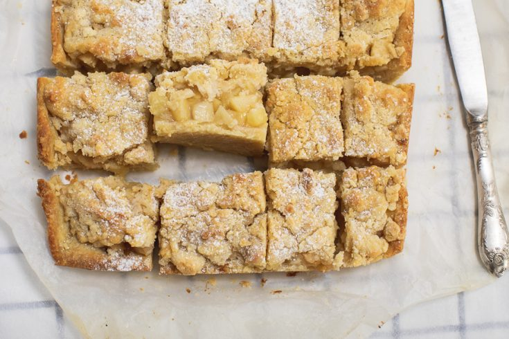 apple pie cut into squares