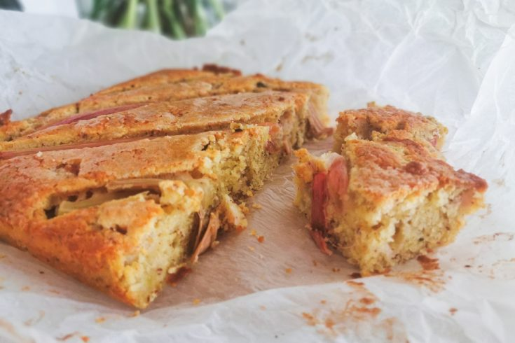 rhubarb cake on baking paper